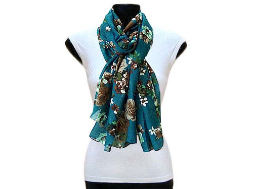 A-SHU LARGE TURQUOISE SMALL FLORAL PRINT LIGHTWEIGHT SCARF - A-SHU.CO.UK