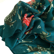 A-SHU LARGE TURQUOISE SUPER SOFT FLORAL PRINT SCARF - A-SHU.CO.UK