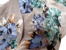 LARGE TWO TONE GREY LARGE FLORAL PRINT LIGHTWEIGHT SCARF