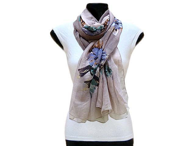 A-SHU LARGE TWO TONE GREY LARGE FLORAL PRINT LIGHTWEIGHT SCARF - A-SHU.CO.UK