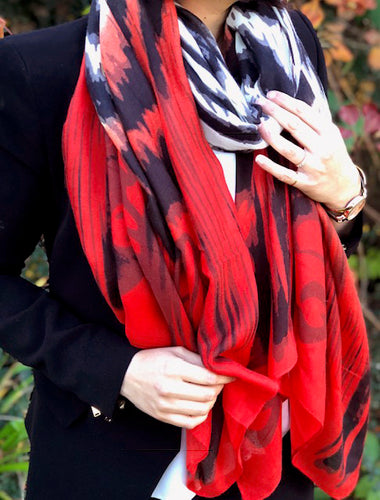 LARGE TWO TONE TIE DYE SUNSET RED ZEBRA PRINT SHAWL SCARF