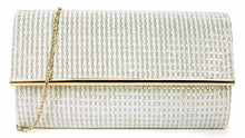 LARGE WHITE METALLIC FOLD OVER CLUTCH BAG WITH LONG CHAIN STRAP
