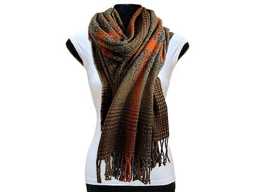 LARGE WOOL MIX THICK CHECKED SHAWL - BROWN
