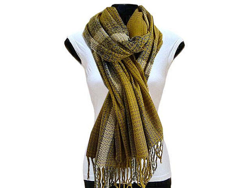 LARGE WOOL MIX THICK CHECKED SHAWL - MUSTARD
