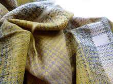 A-SHU LARGE WOOL MIX THICK CHECKED SHAWL - MUSTARD - A-SHU.CO.UK