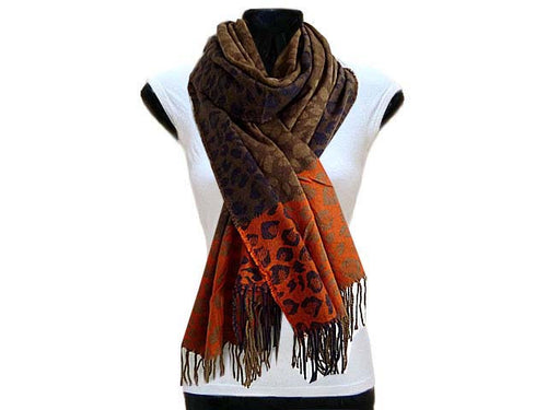 LARGE WOOL MIX THICK LEOPARD PRINT SHAWL - ORANGE