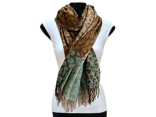 LARGE WOOL MIX THICK LEOPARD PRINT SHAWL - TEAL