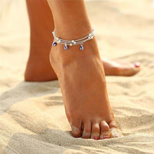 A-SHU LAYERED SILVER EVIL EYE DAINTY ANKLET - A-SHU.CO.UK