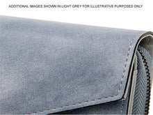 A-SHU DARK GREY LEATHER EFFECT MULTI-COMPARTMENT PURSE WITH WRIST STRAP - A-SHU.CO.UK