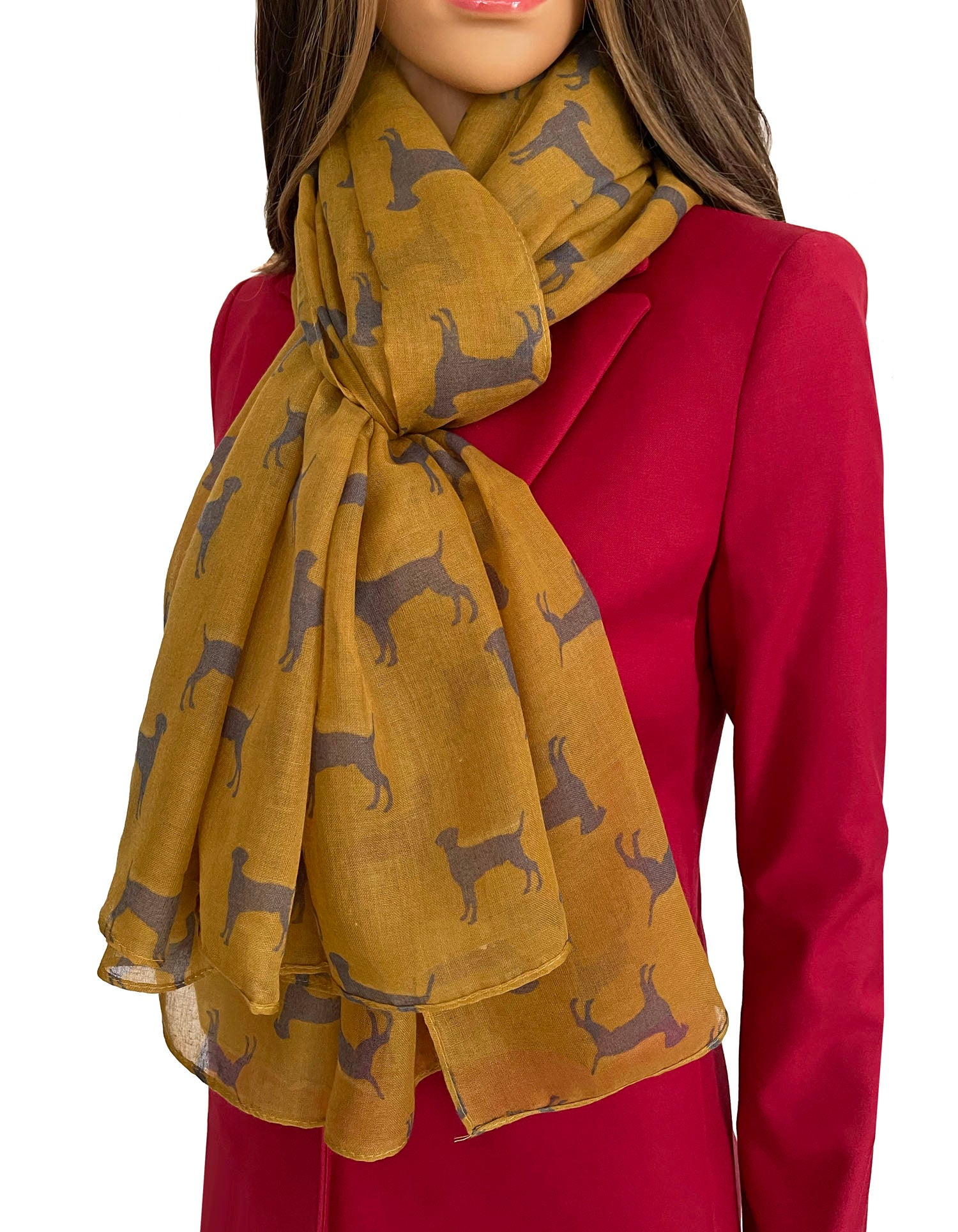 LIGHTWEIGHT MUSTARD YELLOW DOG PRINT SHEER NECK SCARF