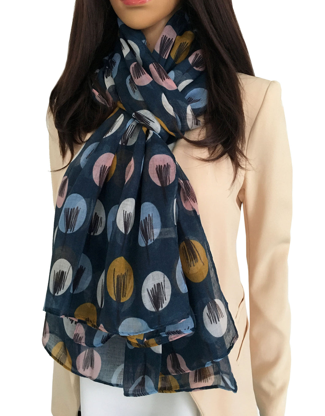 LIGHTWEIGHT NAVY BLUE SKETCHED TREES SHEER NECK SCARF