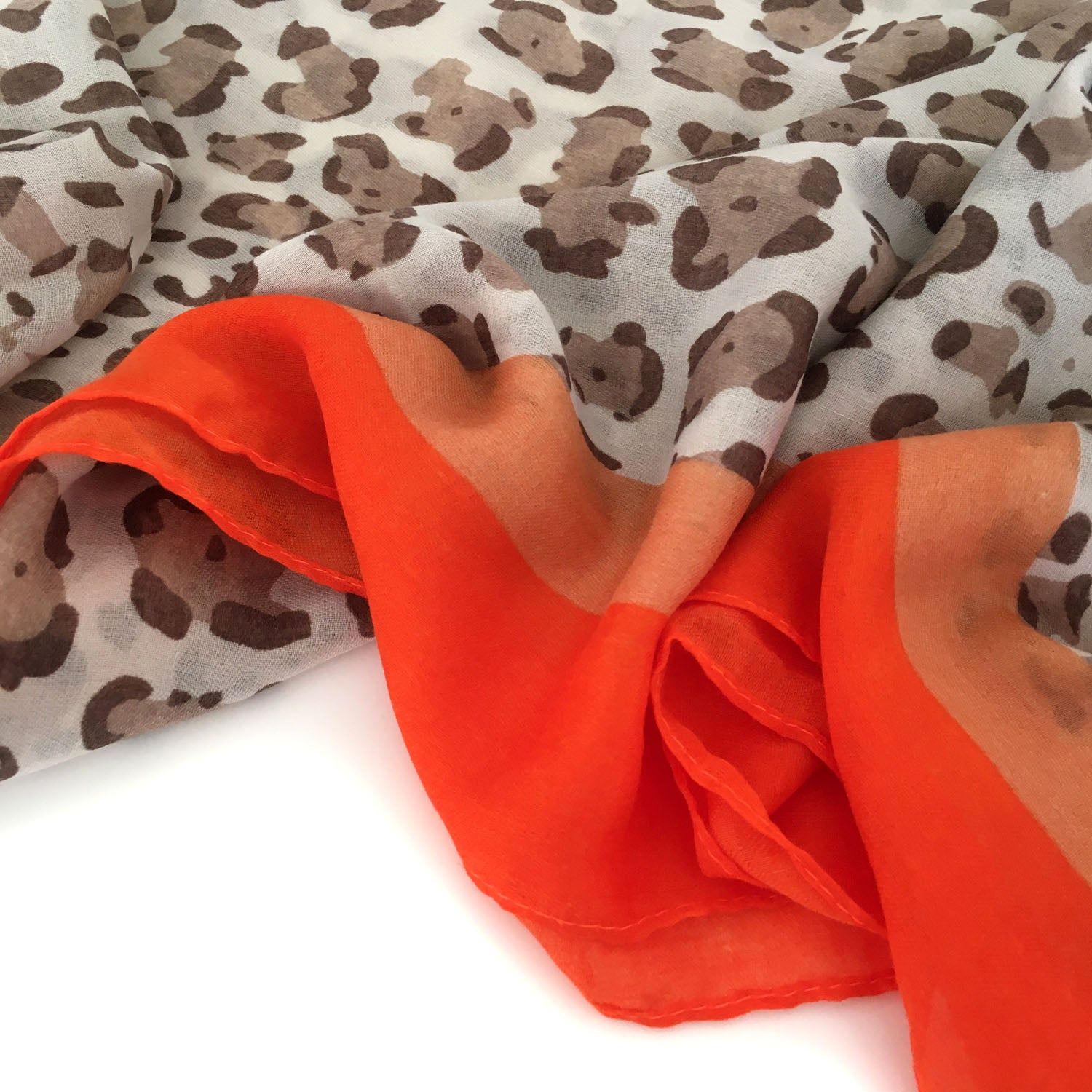 LIGHTWEIGHT ORANGE STRIPE LEOPARD PRINT SHEER NECK SCARF