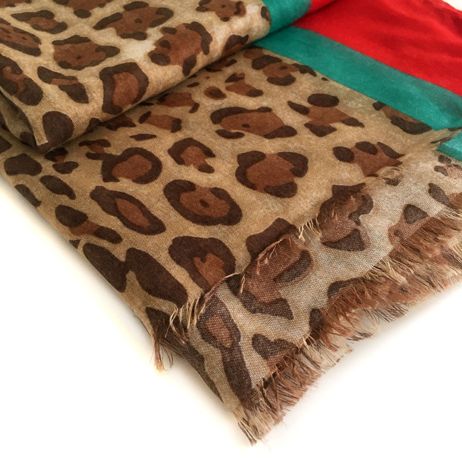 LIGHTWEIGHT RED STRIPE LEOPARD PRINT SHEER NECK SCARF