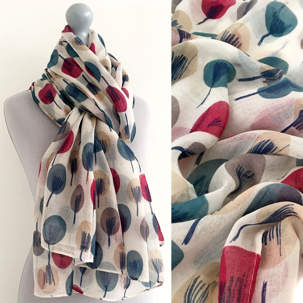 LIGHTWEIGHT WHITE SKETCHED TREES SHEER NECK SCARF