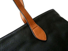 A-SHU LIGHTWEIGHT BLACK FAUX LEATHER TOTE HANDBAG - A-SHU.CO.UK