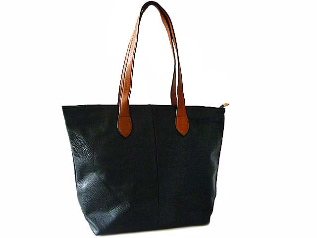 LIGHTWEIGHT BLACK FAUX LEATHER TOTE HANDBAG