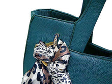 LIGHTWEIGHT BLUE MULTI-COMPARTMENT HANDBAG WITH LEOPARD PRINT SCARF AND LONG STRAP
