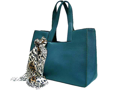 A-SHU LIGHTWEIGHT BLUE MULTI-COMPARTMENT HANDBAG WITH LEOPARD PRINT SCARF AND LONG STRAP - A-SHU.CO.UK