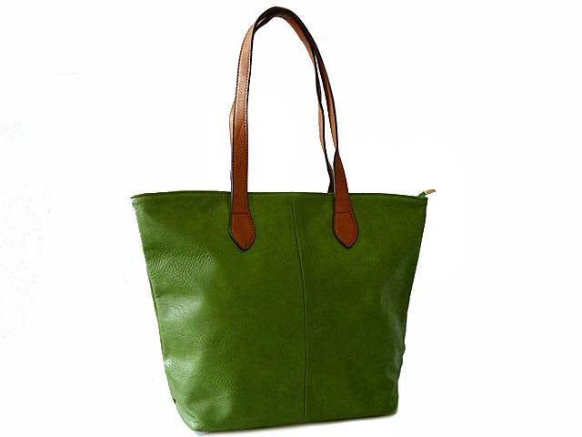 LIGHTWEIGHT GREEN FAUX LEATHER TOTE HANDBAG