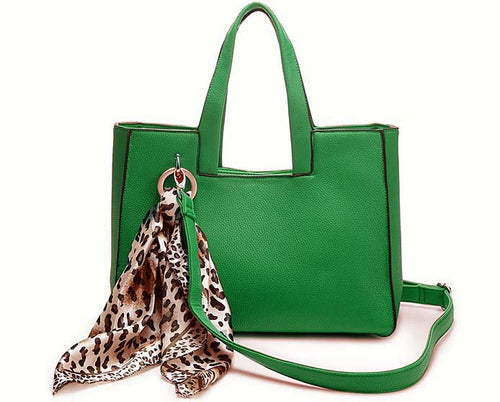 LIGHTWEIGHT GREEN MULTI-COMPARTMENT HANDBAG WITH LEOPARD PRINT SCARF AND LONG STRAP