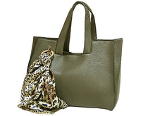 LIGHTWEIGHT GREY MULTI-COMPARTMENT HANDBAG WITH LEOPARD PRINT SCARF AND LONG STRAP