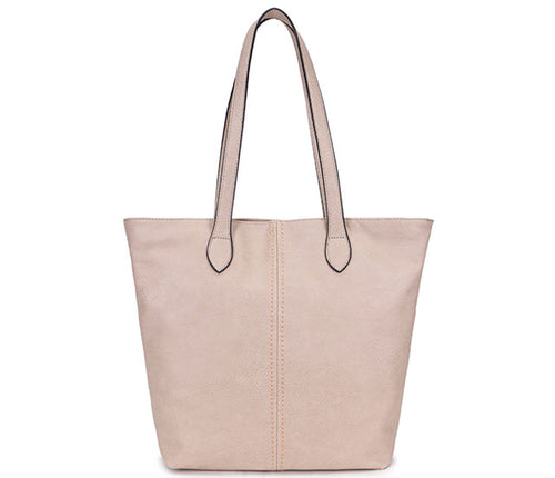 LIGHTWEIGHT LARGE BEIGE FAUX LEATHER TOTE HANDBAG
