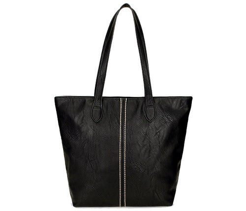 LIGHTWEIGHT LARGE BLACK FAUX LEATHER TOTE HANDBAG