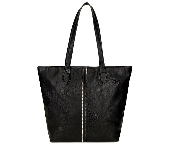 3bc5e0202b A-SHU LARGE BLACK FAUX LEATHER TOTE HANDBAG - A-SHU.CO.UK