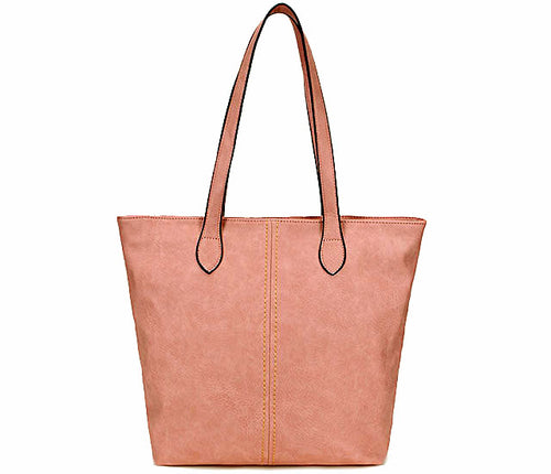 LIGHTWEIGHT LARGE BLUSH PINK FAUX LEATHER TOTE HANDBAG