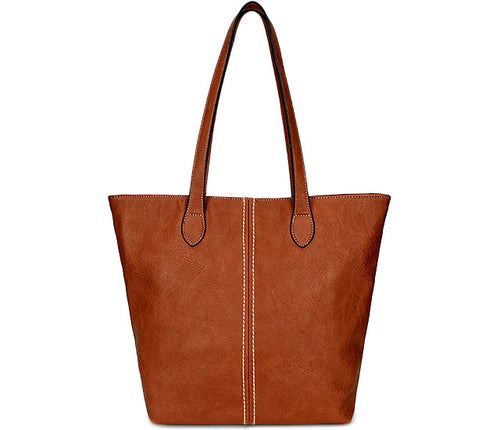 LIGHTWEIGHT LARGE BROWN FAUX LEATHER TOTE HANDBAG