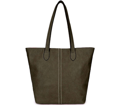 LIGHTWEIGHT LARGE DARK GREY FAUX LEATHER TOTE HANDBAG