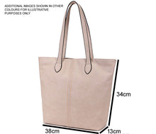 A-SHU LIGHTWEIGHT LARGE TAUPE BEIGE FAUX LEATHER TOTE HANDBAG - A-SHU.CO.UK