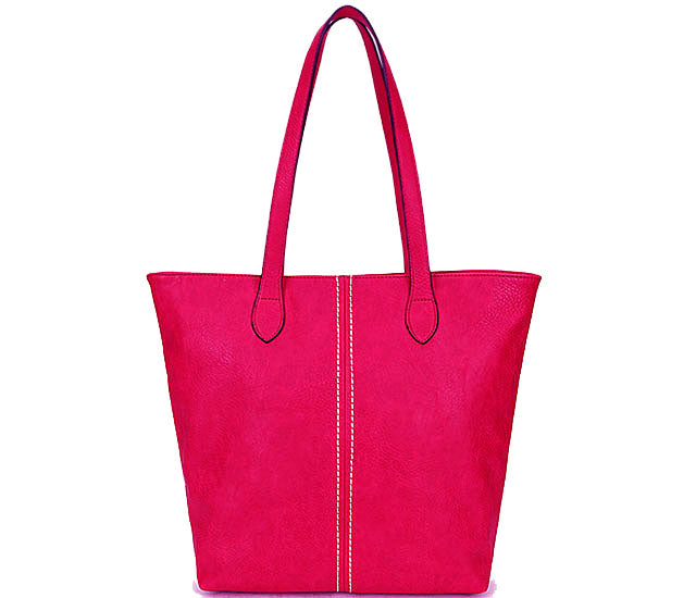 LIGHTWEIGHT LARGE FUSCHIA PINK FAUX LEATHER TOTE HANDBAG