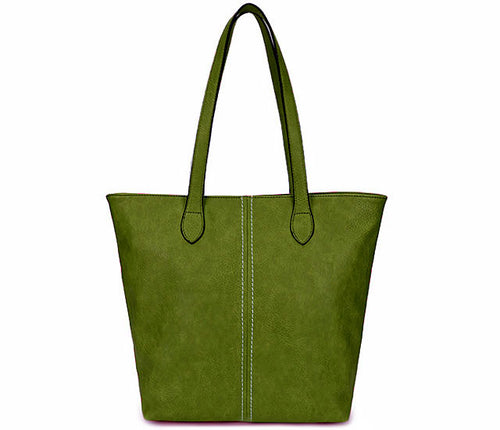 LIGHTWEIGHT LARGE GREEN FAUX LEATHER TOTE HANDBAG