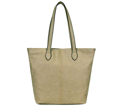 LIGHTWEIGHT LARGE LIGHT GREY FAUX LEATHER TOTE HANDBAG