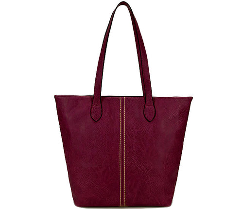 LIGHTWEIGHT LARGE MAROON FAUX LEATHER TOTE HANDBAG