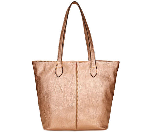 LIGHTWEIGHT LARGE METALLIC ROSE GOLD FAUX LEATHER TOTE HANDBAG