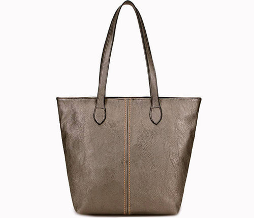 LIGHTWEIGHT LARGE METALLIC PEWTER GREY FAUX LEATHER TOTE HANDBAG