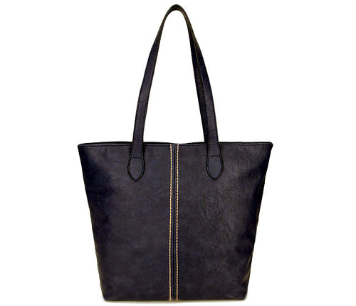 LIGHTWEIGHT LARGE NAVY BLUE FAUX LEATHER TOTE HANDBAG