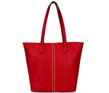 LIGHTWEIGHT LARGE RED FAUX LEATHER TOTE HANDBAG