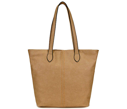 LIGHTWEIGHT LARGE TAUPE BEIGE FAUX LEATHER TOTE HANDBAG