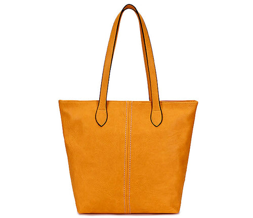 LIGHTWEIGHT LARGE YELLOW FAUX LEATHER TOTE HANDBAG