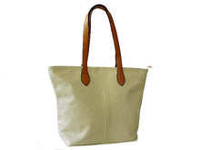 LIGHTWEIGHT LIGHT GREY FAUX LEATHER TOTE HANDBAG