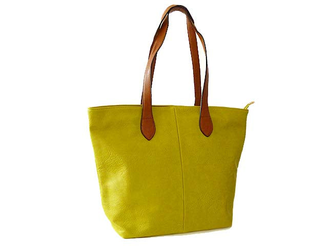LIGHTWEIGHT LIME YELLOW FAUX LEATHER TOTE HANDBAG