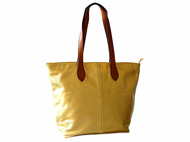 LIGHTWEIGHT METALLIC GOLD FAUX LEATHER TOTE HANDBAG