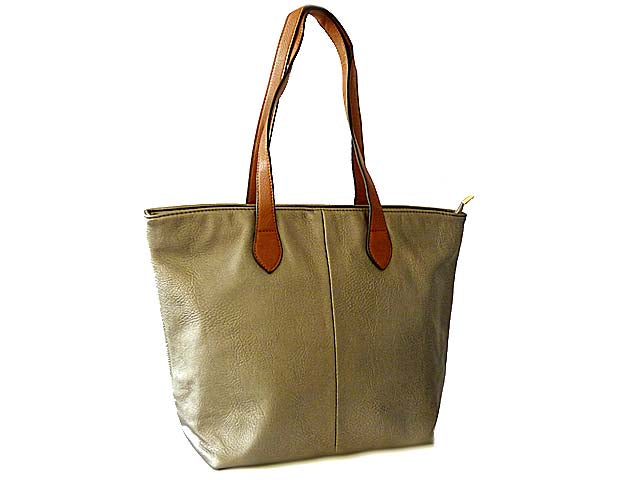 LIGHTWEIGHT METALLIC PEWTER FAUX LEATHER TOTE HANDBAG