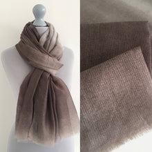 A-SHU LIGHTWEIGHT MOCHA OMBRE METALLIC GOLD THREAD SCARF - A-SHU.CO.UK
