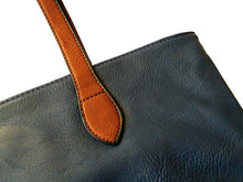 ORDER BY REQUEST - LIGHTWEIGHT NAVY BLUE FAUX LEATHER TOTE HANDBAG