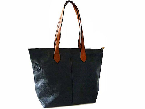 A-SHU LIGHTWEIGHT NAVY BLUE FAUX LEATHER TOTE HANDBAG - A-SHU.CO.UK