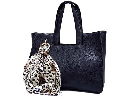 A-SHU LIGHTWEIGHT NAVY BLUE MULTI-COMPARTMENT HANDBAG WITH LEOPARD PRINT SCARF AND LONG STRAP - A-SHU.CO.UK